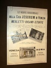 Pubblicità del 1910 Merletti, ricami e stoffe Jesurum e Mobili Ducrot