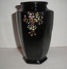 Vintage Cobalt Blue HP Enamel Footed Six Panels Vase Red Clay MIJ Slight Gold