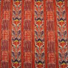 """CLARENCE HOUSE NEW MAZAR BRICK RED IKAT STRIPE 100% LINEN FABRIC BY YARD 54""""W"""