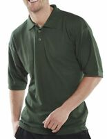 Click Bottle Green Mens Polycotton Short Sleeve Pique Polo Shirt Collar Work New