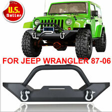 Textured Front Bumper W/D-Ring & Winch Plate For 87-06 Jeep Wrangler YJ TJ N