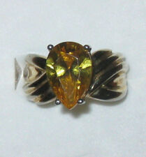 CANARY YELLOW CZ RING SET IN TECHNIBOND STERLING SILVER SIZE 6