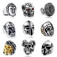 Retro Stainless Steel Silver Fashion Gothic Punk Skull Finger Rings Jewelry New