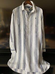 Polo Ralph Lauren 100% linen Strips Shirt Dress little pony Sz L NWT$129.99 NH m