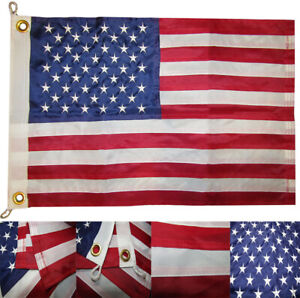 """16x24 USA 50 Star 16""""x24"""" Nylon Embroidered 300D Flag Grommets 2 Clips (RUF)"""