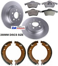 FOR VOLVO V70 (2000-2007) REAR BRAKE DISCS AND PADS + HANDBRAKE SHOES SET *NEW*