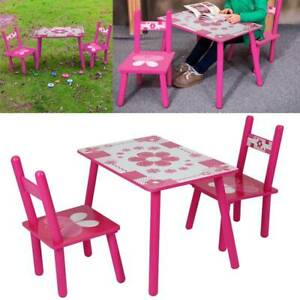 Pink 2 Chairs Flowers Kids Childrens Wooden Garden or Inside Table Set