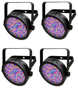 (4) Chauvet SlimPar 56 LED DMX Slim Par Can Stage Pro DJ RGB Lighting Effects