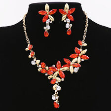 Lady Red Crystal Rhinestone Diamond Chain Necklace Pendant Earrings Jewelry Set