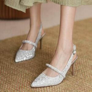 Womens Trendy Glitter Sequins Pointy Toe Slingbacks Slim High Heels Sandals Shoe