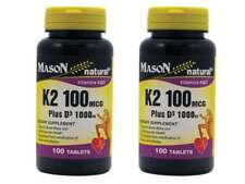 PACK 2 X 100 = 200 Tablets K2 100MCG + D3 1000IU Bone Mass Vitamins K&D Cardio