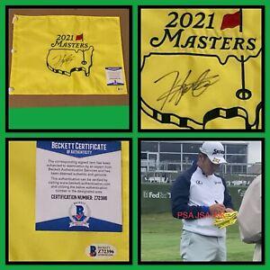Hideki Matsuyama signed 2021 Masters flag Augusta Beckett Certified Autograph