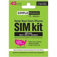 Simple Mobile Keep Your Own Phone 3-in-1 Prepaid SIM Card Kit - Mini Pack