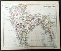 1880 Bartholomew Antique Map of India, Sri Lanka & Burma
