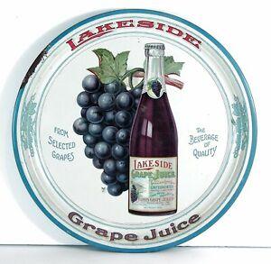 1910s LAKESIDE GRAPE JUICE TIN LITHO ADVERTISING BEER TRAY HARRIS GRAPE JUICE CO
