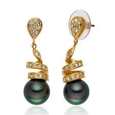 DE LUXE tahiti vert Noyau de coquillage Boucles D'oreilles De Perles Or jaune