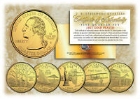 2001 US Statehood Quarters 24K GOLD PLATED ** 5-Coin Complete Set ** w/Capsules