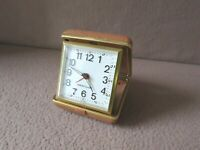 "Vintage "" WESTCLOX TRAVEL ALARM "":  Tan Case:  Keeps Excellent Time!!"