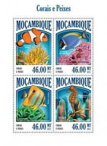 Mozambique - 2013 Tropical Fish and Coral 4 Stamp Sheet 13A-1374