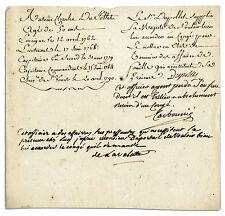 French Rev General Earl de la Valette Autograph Letter