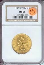 1907 (1907-P) $10 LIBERTY EAGLE NGC MS63 Gold Coin Last Year of Issue BEAUTIFUL
