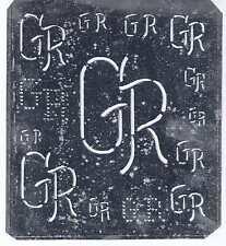 Große Monogramm Schablone GR  Jugendstil   Weißblech 15,5 x 18 cm Weissstickerei