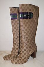 WOMEN'S GUCCI BROWN CANVAS LOGO TALL BOOTS HORSE BIT SIDES SZ 6 1/2 B GOOD USED