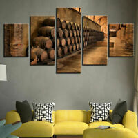 Wine Cellar Wine Barrels 5 Pieces Canvas Wall Art Poster Print Home Decor