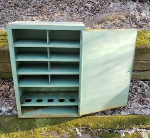 Antique Vintage Industrial Metal Hanging Cabinet Old Green Paint Patina Workshop