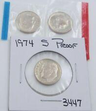 1974 P D & S Roosevelt Dime Set - Pd Mint Cello / S Proof - 3 coins (3447)