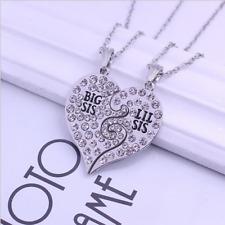 2pc Crystal Heart Necklace for Sisters Best Friends Lil Sis Big Sis Gift Pendant