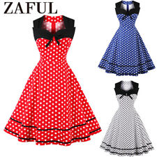 Pleated Polka Dot Rockabilly Dress Pin Up Swing 50s 40s Retro Vintage PLUS S-4XL