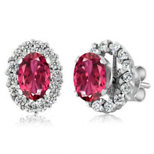 1.36 Ct Oval Pink Tourmaline 925 Sterling Silver Earrings With Jackets