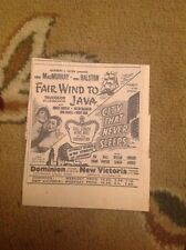 Ephemera 1947 Advert Fair Wind To Java Fred Macmurray Vera Ralston g1l