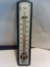 """New listing Antique Taylor Blue Wood Wall Thermometer 8 1/8"""" Tall"""