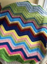 CROCHET handmade baby blanket afghan chevron ripple VANNA yarn multicolor BOHO 1