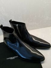 $750 Costume National Mens Boots 12 US Amazing Black Leather Zippered Ankle Boot