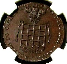 1795 GREAT BRITAIN 1/2 PENNY MIDDLESEX-WILLIAMS' LONDON NGC MINT STATE 64 BROWN