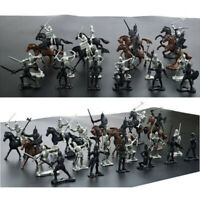 28 PCS Medieval Knights Warriors Horses Soldiers Figures Model Educational Pro