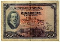 BILLETE DE 50 PESETAS DE 1927 (BC+) SIN SELLO REPÚBLICANO (SIN SERIE)