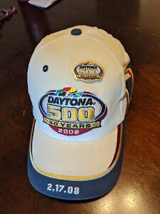 Daytona 500 - 50 Year Anniversary 2008 Nascar Hat Cap - White - w/ Race Pin