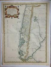 CHILE ARGENTINA 1656 NICOLAS SANSON UNUSUAL LARGE ANTIQUE MAP IN COLORS