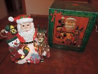 Santa Lamp Light Christmas Snowman Reindeer w/ Box (h558)
