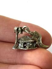 Vintage JP Sterling Silver Bracelet Charm Grass Shack Palm Tree Hawaii Hawaiian