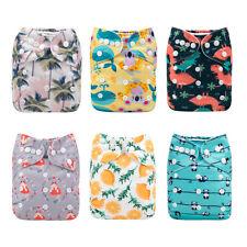 ALVA Baby 6PCS Cloth Nappies + 6PCS Mcrofiber Inserts Reusable Pocket Diaper