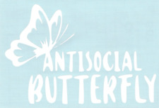 Antisocial Butterfly Funny Car Truck Suv Vinyl Sticker Decal