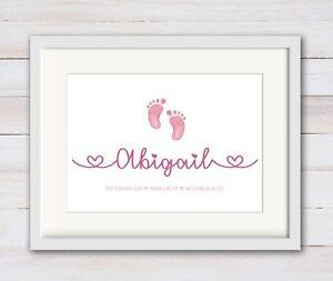 GIRL New Birth Newborn Personalised Baby Print Christening Gift Nursery FEET