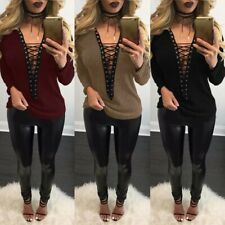 ZANZEA Women Long Sleeve Sexy Plunge Jumper Sweater Top Shirt Tee Lace Up Blouse
