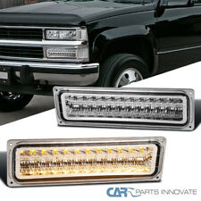 Fit 88-99 Chevy C10 C/K Tahoe Silverado Clear LED Bumper Lights Parking Lamps