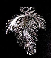 Sterling Silver 925 Vintage Clip Brooch Marcasite Fine Detail Leaf 1940s? Signed